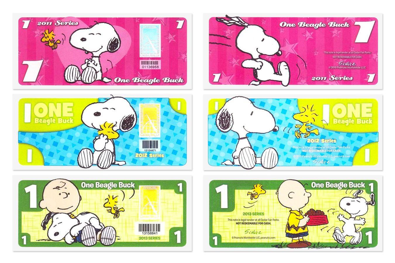 史努比乐园纪念钞 1美元 套装(2011、2012、2013年版)