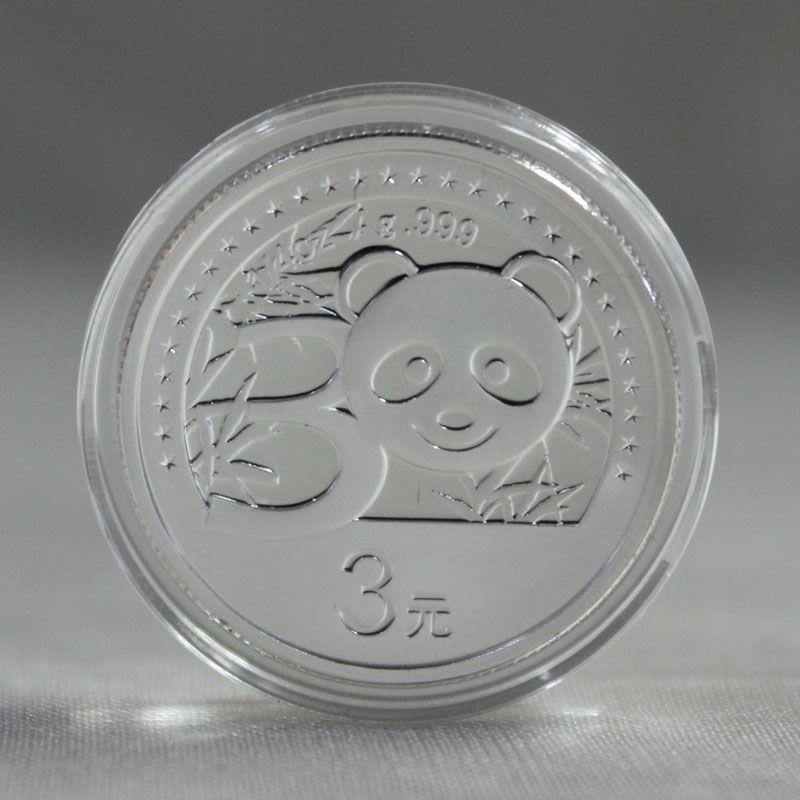 2012年熊猫金币发行30周年 熊猫加字 1/4盎司 银币