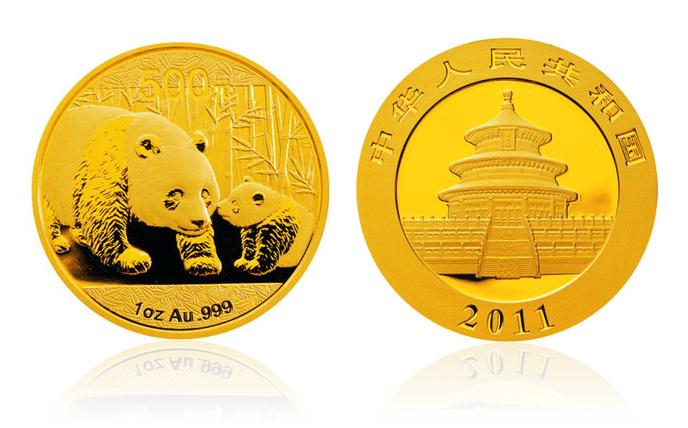2011年熊猫金银币 1盎司 金币