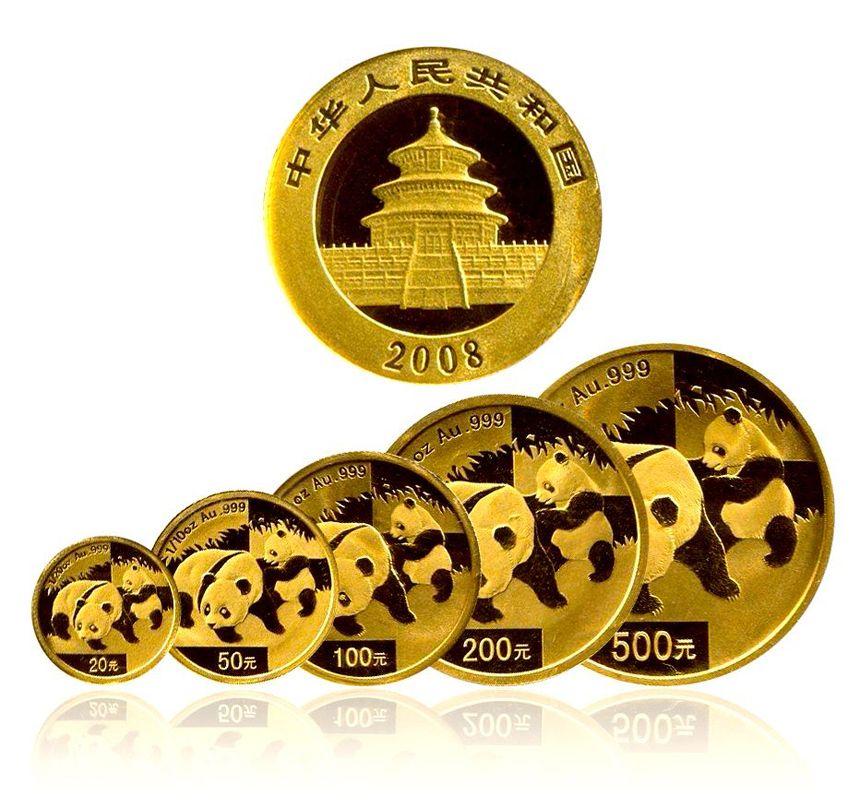 2008年熊猫金币 套装 金套猫