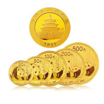 2011年熊猫金币 套装 金套猫